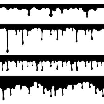 Goteo de pintura, líquido negro o chocolate derretido gotea corrientes sin costura aisladas