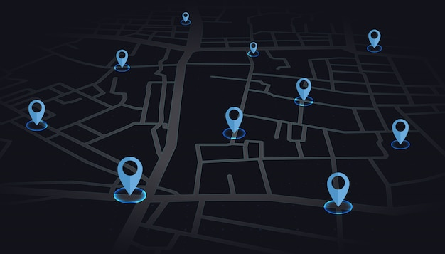 Gps fija el color azul que se muestra en la calle del mapa en tono oscuro.