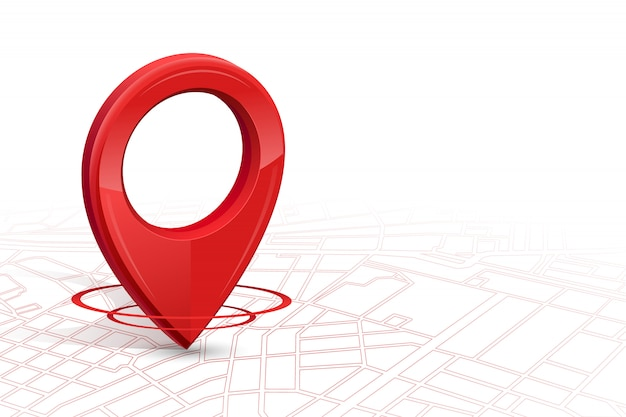 Gps.gps icon 3d color rojo cayendo en el mapa de calles en whitebackground