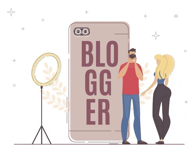 Grabación de nuevo video blogger proceso importante.