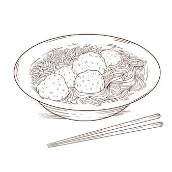 Grabado bakso dibujado en un cuenco