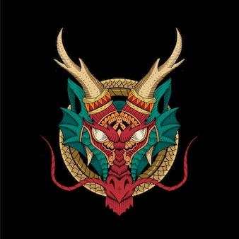Grabado de cabeza de dragones. concepto tradicional. china y japón antiguos. mitología y cultura. estilo de tatuaje