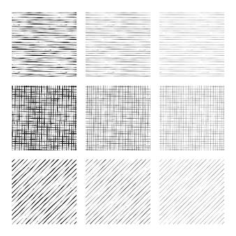 Grabado conjunto de patrones dibujados a mano