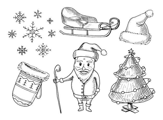 Grabado dibujado a mano en boceto antiguo y estilo vintage para etiqueta. feliz navidad o navidad, colección de año nuevo.