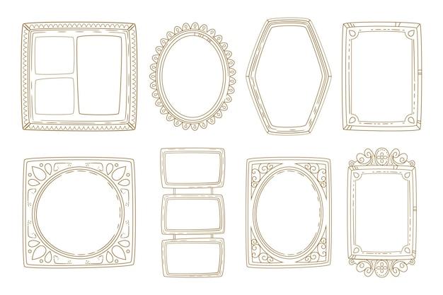 Grabado dibujado a mano colección de marcos de doodle
