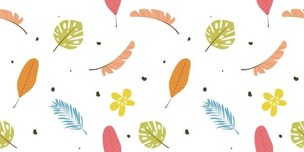 Grabado dibujado a mano hojas de patrones sin fisuras vector gratuito