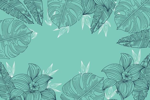 Grabado dibujado a mano hojas tropicales fondo de verano
