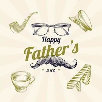 Grabado dibujado a mano ilustración del día del padre