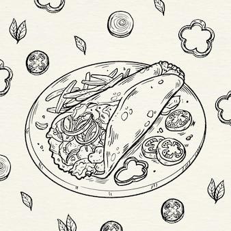 Grabado dibujado a mano ilustración shawarma