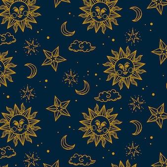 Grabado dibujado a mano patrón de sol dorado