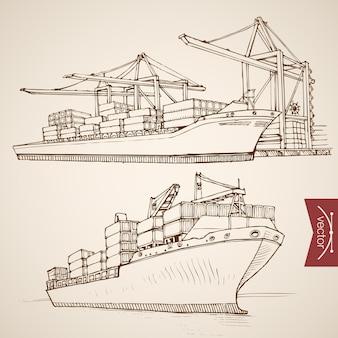 Grabado dibujado a mano vintage barco entrega y descarga colección de contenedores de carga. transporte de entrega de agua de dibujo a lápiz