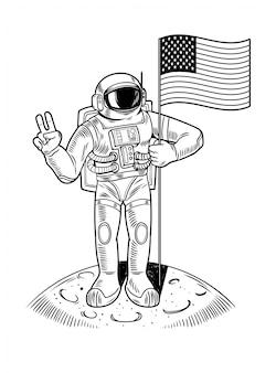 Grabado dibujar con astronauta astronauta en la luna mantenga la bandera estadounidense de ee. uu. el primer vuelo del programa espacial humano en la luna apolo. ilustración de personaje de dibujos animados vintage