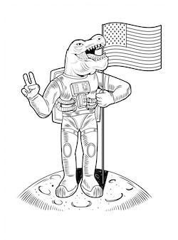 Grabado dibujar con astronauta verde t rex tiranosaurio en traje espacial en la luna mantenga la bandera estadounidense de ee. uu. el primer vuelo en el programa espacial de la luna apolo. ilustración de personaje de dibujos animados vintage