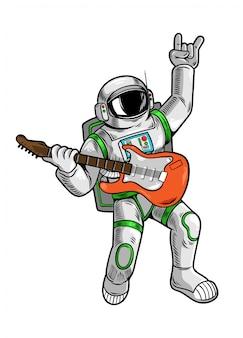 Grabado dibujar con genial amigo astronauta astronauta estrella de rock tocar en guitarra en traje espacial.