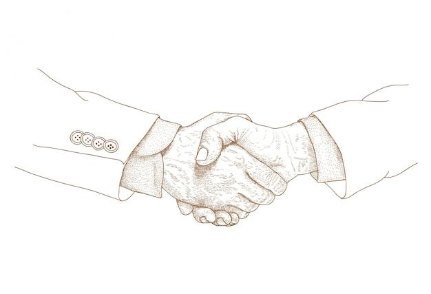 Grabado dibujo ilustración de apretón de manos