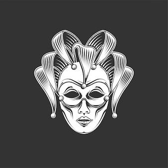 Grabado emblema de máscara de carnaval veneciano y logotipo de letras adornadas