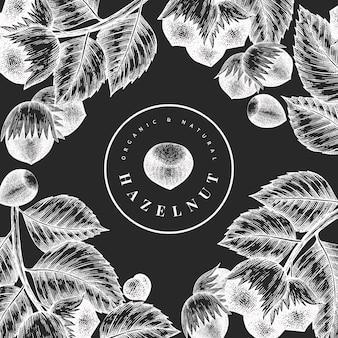 Grabado estilo botánico marco ilustraciones sobre fondo de pizarra