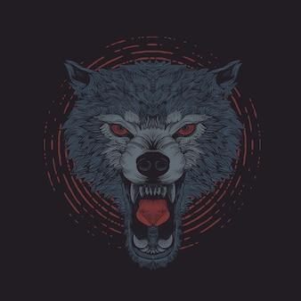 Grabado de lobo enojado