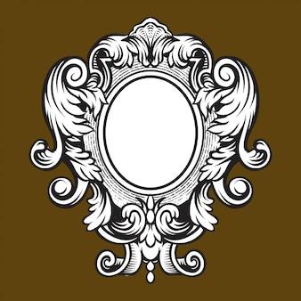 Grabado de marco de borde vintage con patrón de adorno retro en diseño decorativo de estilo rococó antiguo