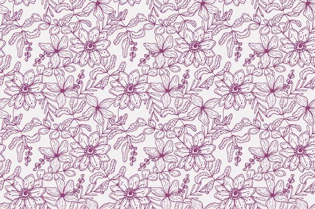 Grabado de patrones botánicos dibujados a mano