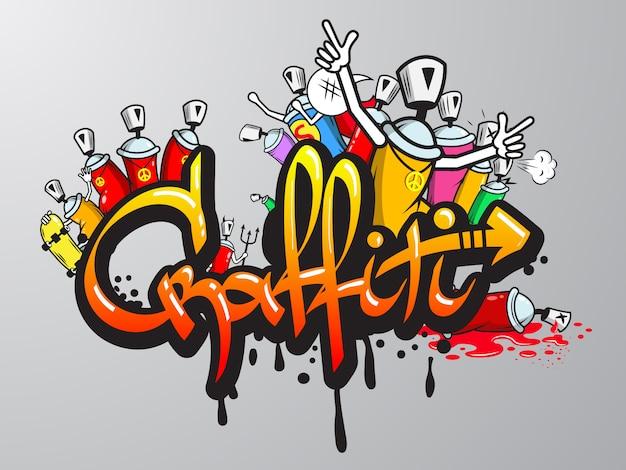 Grabado de personajes de graffiti