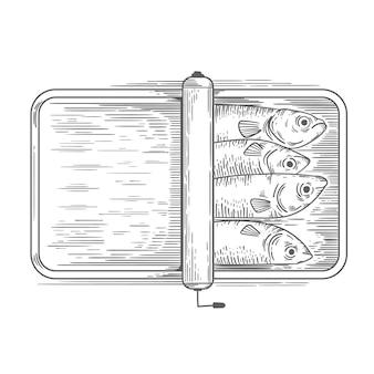 Grabado de sardina dibujada a mano