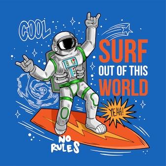 Grabado tipo genial en traje espacial surfista astronauta astronauta atrapar la ola espacial en tabla de surf, navegando entre estrellas planetas galaxias. dibujos animados comics pop art cósmico para ropa de diseño de camiseta de impresión.