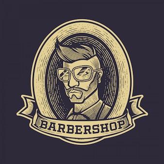 Grabado vintage barbershop logo, diseño de insignia