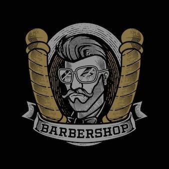 Grabado vintage barbershop mascot logo