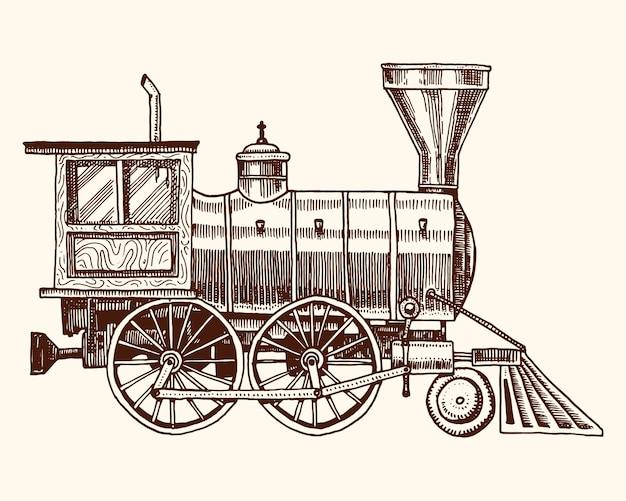 Grabado vintage, dibujado a mano, vieja locomotora o tren con vapor en ferrocarril estadounidense. transporte retro
