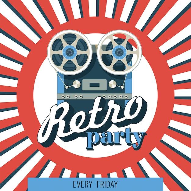 Grabador de cinta de carrete a carrete. una ilustración de época. música retro. cartel de vector.
