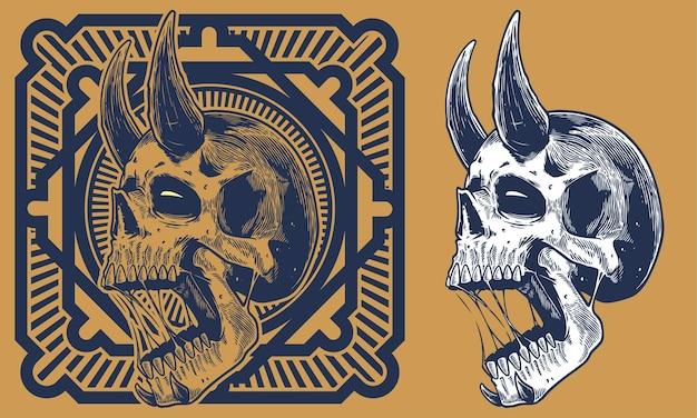 Grabar cráneo con ilustración vintage cuerno
