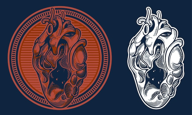 Grabar ilustración vintage corazón