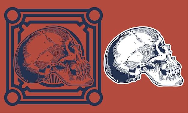 Grabar ilustración vintage de cráneo
