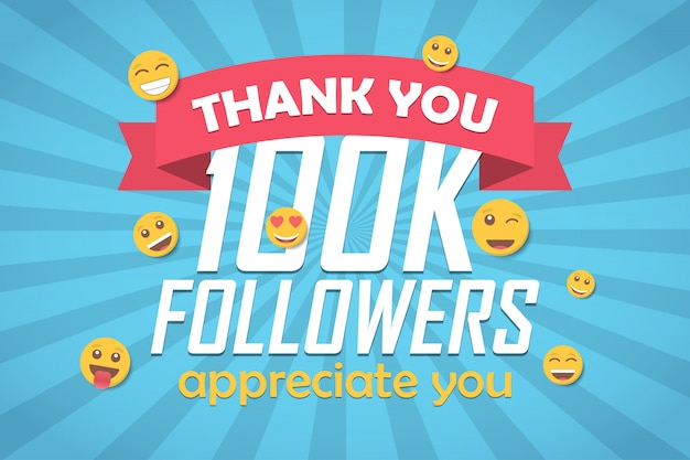 Gracias 100k seguidores fondo de felicitación con emoticon.