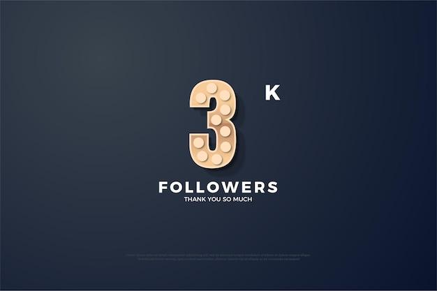 Gracias a 3000 seguidores con figuras redondas con textura