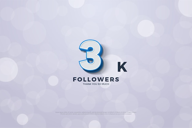 Gracias a 3000 seguidores con números de borde azul en relieve