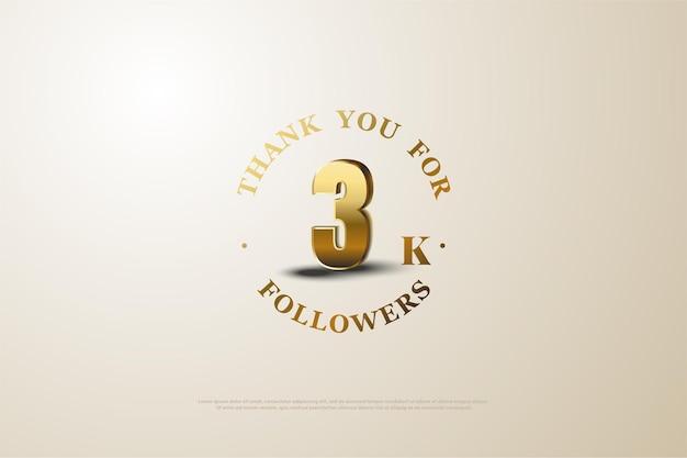 Gracias a 3000 seguidores con números dorados sombreados