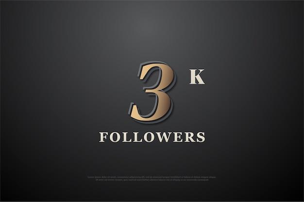 Gracias a 3k seguidores con números dorados sobre fondo negro