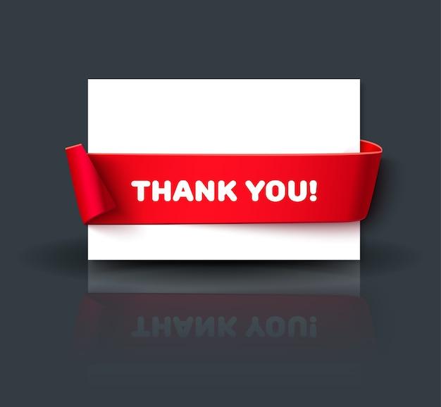 Gracias en blanco o plantilla de tarjeta de felicitación con reflejo aislado sobre fondo oscuro. tarjeta de papel con cinta roja y espacio para texto.