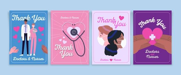 Gracias colección de postales de médicos y enfermeras.