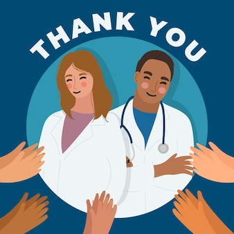 Gracias concepto de ilustración de médicos y enfermeras
