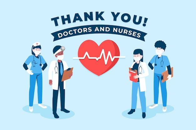 Gracias concepto de médicos y enfermeras