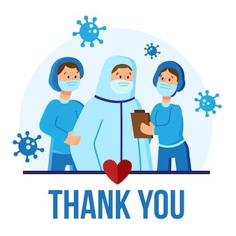Gracias concepto de mensaje de enfermeras y médicos