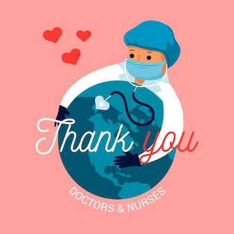 Gracias concepto de mensaje de médicos y enfermeras