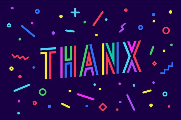 Gracias. concepto de tarjeta de felicitación, pancarta, póster y adhesivo, estilo geométrico de memphis con texto