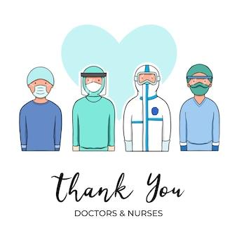 Gracias doctores y enfermeras diseño ilustrado