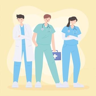 Gracias doctores y enfermeras, personajes de personas de trabajo en equipo médico