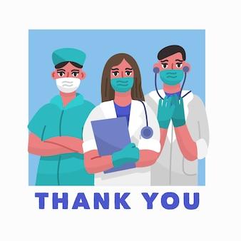 Gracias doctores con mascarilla y guantes.