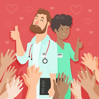 Gracias enfermeras y doctor ilustración